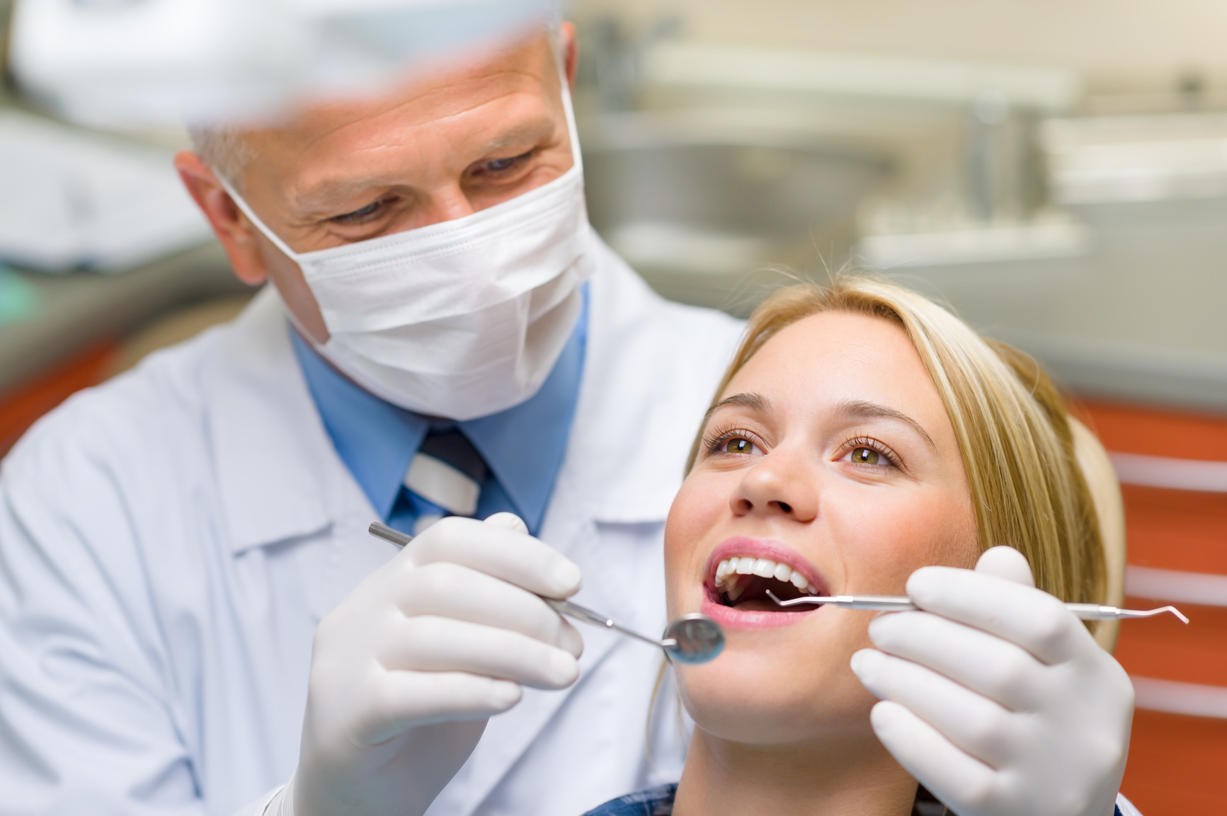Healthy teeth patient at dentist office